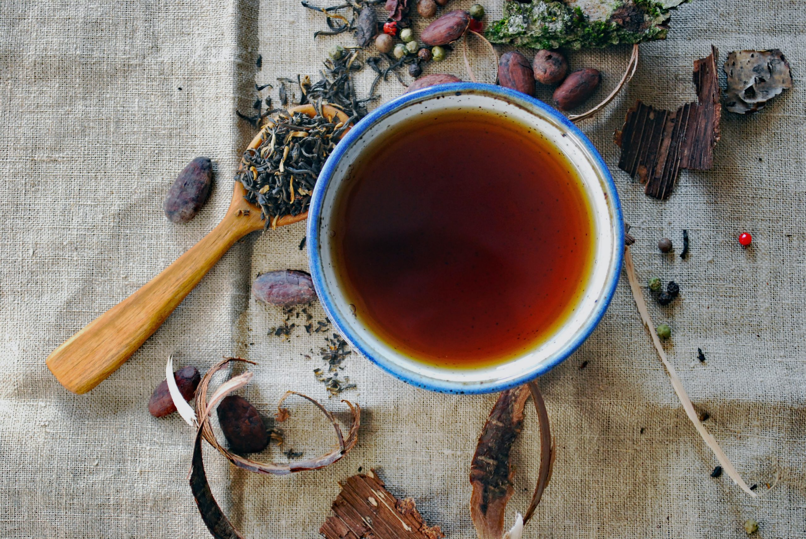 Cup of tea with dried herbs