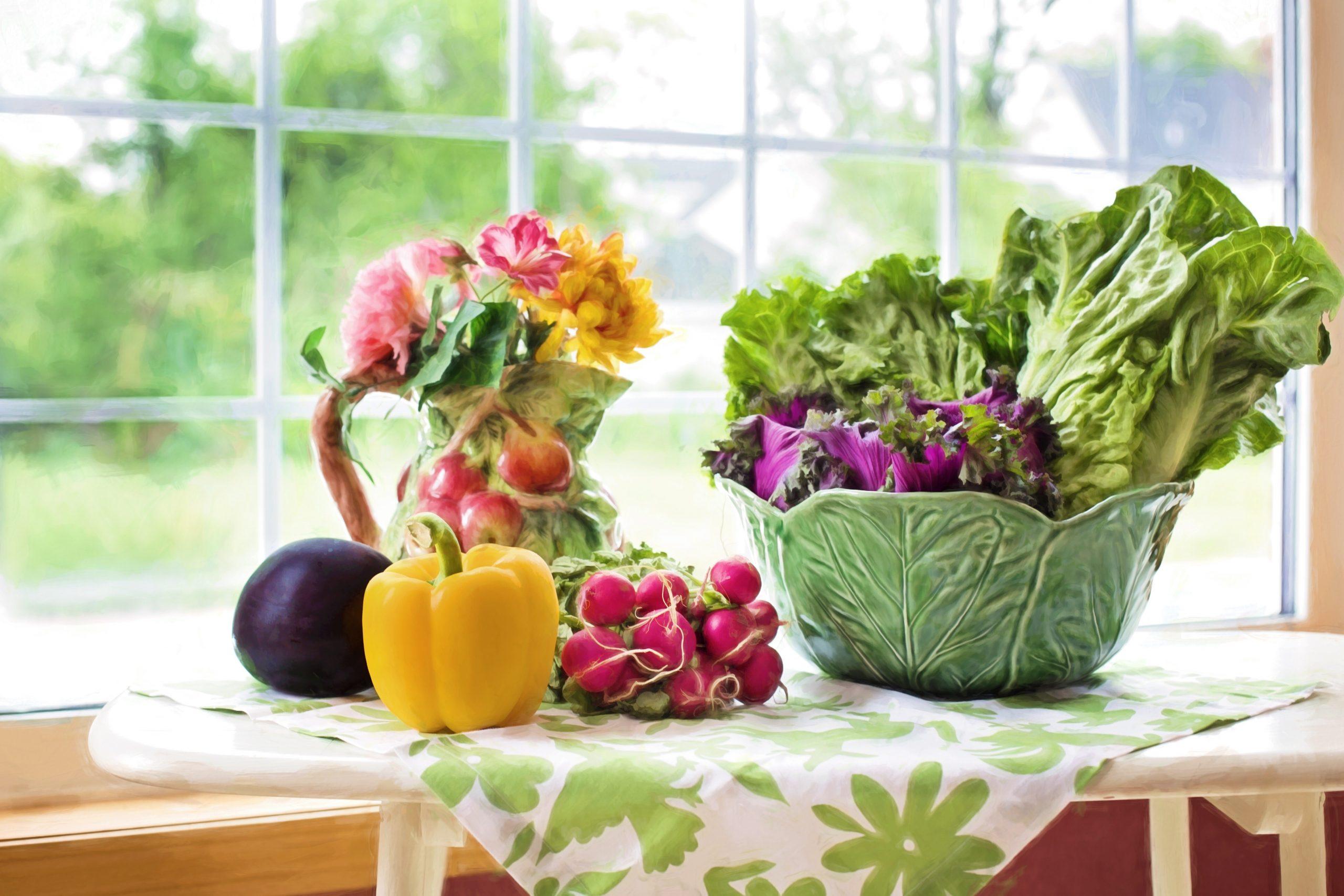 fresh produce on kitchen table